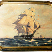 SALE Gordon Grant - Circa 1930 - Framed Ship Print