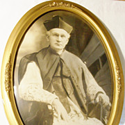 Large Stunning Antique Circa 1910 Gold Gesso Bubble Glass Framed Photograph of a Catholic ...