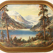 SALE 1920's Art Deco Wm Thompson Landscape Print - Lake Louise Canada