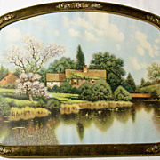 SALE Large 1920's Barbola Roses Framed Cottage on the Lake Print