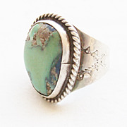 Vintage Turquoise and Sterling Southwestern Ring - Size 9 - Circa 1950