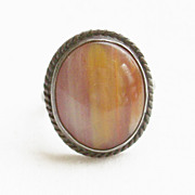 1950 Vintage Southwestern Petrified Wood and Sterling Silver Ring - Size 7 1/2