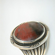 Southwestern Petrified Wood Silver Ring - Size 9 - ca. 1960