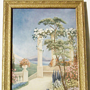 SALE 1920's Art Deco Era Framed Floral Landscape Print - Alice Adams