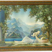 SOLD 1920's Art Deco Robert Atkinson Fox Framed Fantasy Print - Love's Paradise