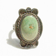 Dirty Tarnished Vintage Sterling Turquoise Southwestern Ring - Size 8 1/4