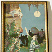 "SALE Late 1920's Art Deco Romeo and Juliet Style Fantasy Print - 15""' x 9"""