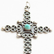 Vintage Mexican Sterling Silver and Turquoise Cross Pendant