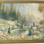 SALE 1920's Art Deco Framed Fantasy Print - Enchanted Gardens