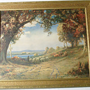SALE 1920's  Robert Atkinson Fox Framed Art Deco Landscape Print - Indian Summer