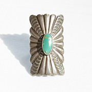 Vintage 1950 Long Rectangular Sterling Turquoise Southwestern Harvey Era Ring - Size 6