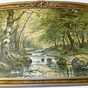 Large 1920's Barbola Roses Framed Spring - Summer Landscape - Stream