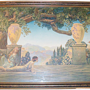SALE Large 1920's Art Deco Framed Fantasy Print - Melody of Love - 32 x 20