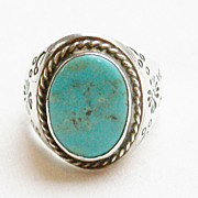 SALE Heavy Vintage Southwestern Sterling and Turquoise Ring - Size 11