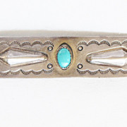 Vintage Southwestern Sterling Repousse and Turquoise Bar Pin