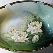"REDUCED Circa 1920 Huge 12"" + Porcelain Water Lillie's Serving Bowl"