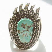 Large Men's Navajo Turquoise Sterling Ring - Artist Johnny Dick - Size 10 - Bear Paw with Exte