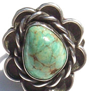 Vintage Southwestern High Domed 1970s Turquoise Sterling Ring - Size 5 1/4