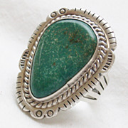 Large Vintage Turquoise Sterling  Ring - Size 9.5