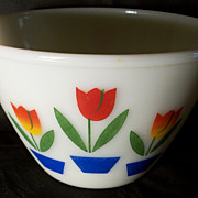 Fire King 1950's Tulips Bowl - Anchor Hocking