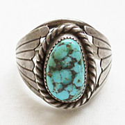 Vintage Navajo L. Reeves Turquoise and Sterling Ring - Size 10 1/2