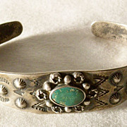 Circa 1940 Dirty Tarnished Harvey Era Southwestern Turquoise Silver Bracelet