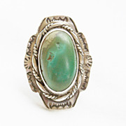 Huge Vintage Southwestern Hammered Silver and Turquoise Ring - Size 5 1/2