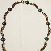 Vintage Harvey Era Southwestern Tourist  Style Turquoise Sterling Silver Necklace - Short Chok