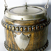 Antique English Edwardian Beaded Tiger Oak Silverplated Biscuit Barrel - C 1910