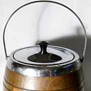 Collectible Vintage English Oak Biscuit Barrel - C 1940