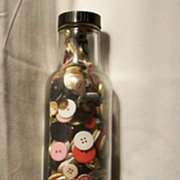 Vintage Glass Rolling Pin Almost Full of Misc. Buttons - Estate