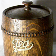 SALE 1930 English Beaded Coopered Oak Tea Caddy
