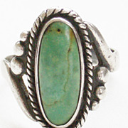 Small Vintage Sterling Turquoise Southwestern Ring - Bell Trading Post - Size 5