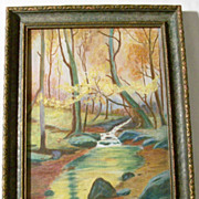Vintage Landscape Watercolor - Framed Under Glass