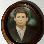 Vintage Framed Photograph of Young Man - Convex Glass