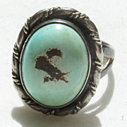 Vintage Turquoise and Sterling Southwestern Ring - Size 6