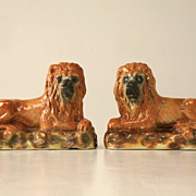 REDUCED Antique Scottish Porcelain Lions