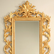 "REDUCED Exquisite 57 x 37"" Gilt Carved Rococo Beveled Mirror"