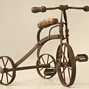 Vintage English Steel Functioning Miniature Doll or Toy Tricycle