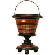 REDUCED c.1850 Antique Dutch Mahogany Treen Peat Bucket/Wine Cooler