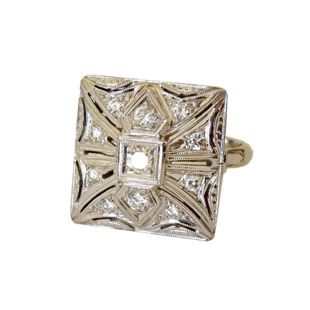 1940's Art Deco Square Top 14k and Diamond Ring