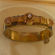 SOLD A 14K Victorian Etruscan Revival Bracelet With Diamond