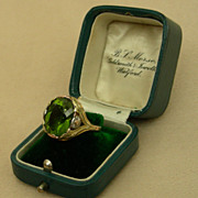 An Art Nouveau 4 Color 14K Gold Gem 7.81 Ct Peridot Ring Circa 1900
