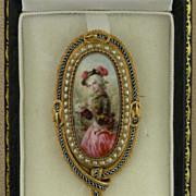An 18K Enamel Portrait Miniature O A Young Woman Set With Pearls