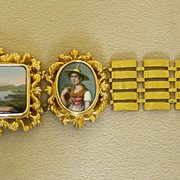 SOLD An 18K Victorian Swiss Enamel Link Bracelet In Original Box