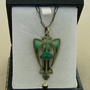 An Enamel 900 Silver Arts & Crafts Pendant