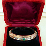 An 18K Victorian Diamonds And Emerald French Bracelet