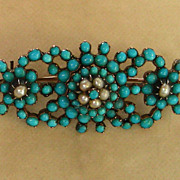 A Victorian Pave Turquoise & Pearl Set Silver Brooch