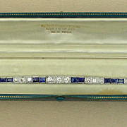 SOLD An Art Deco Platinum Diamond & Sapphire Graduated Link Bracelet