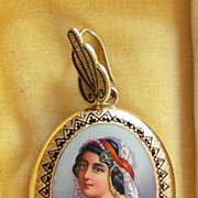 An 18K Victorian Enamel Portrait Locket With Rose-Cut Diamonds